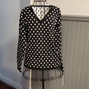 👚ROSANNA V NECK POLKA DOT SWEATER